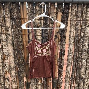 Floral Embroidered Spaghetti Tank
